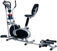 orbitrac bike with back rest, dumbells,twister and massager