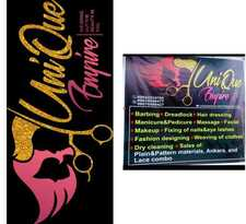 At UniQue Empire,   We specialize on the following:  Barbing  Dread locks and Dread maintance   Hairdressing (Any style of your choice)  General body massage  Manicure and pedicure  Facial treatment  Laundry and Dry cleaning  Fashion designing (Weaving of clothes)  Installation of car tracker  MakeUp  Fixing of Nails and Eye Lashes  Sales of Plain and Pattern materials, Ankara and Lace combo  All Our services are at affordable